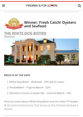 Virginia is for Lover Fresh Catch Winner